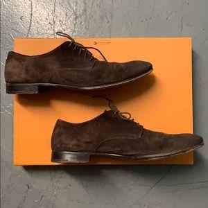 Prada Brown Suede Oxford Shoes